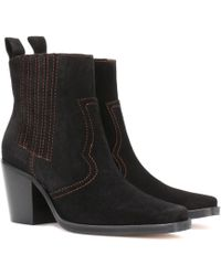 Ganni - Clemence Suede Ankle Boots - Lyst