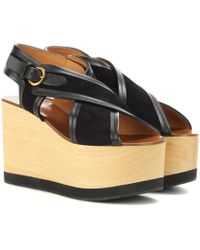 Isabel Marant - Zlova Suede And Wood Wedge Sandals - Lyst