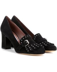 Tabitha Simmons - Ethel Embellished Suede Court Shoes - Lyst