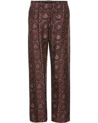 a4ba2ad89eec Lyst - Pantalon de pyjama en soie Burberry en coloris Marron