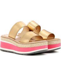 Prada - Metallic Leather Platform Sandals - Lyst