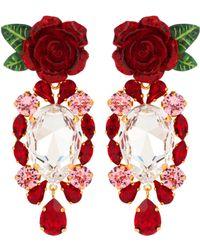 Dolce & Gabbana - Rose Crystal Drop Earrings - Lyst
