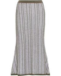 Victoria Beckham - Falda de algodón y lana a rayas - Lyst ad9472e3f58e