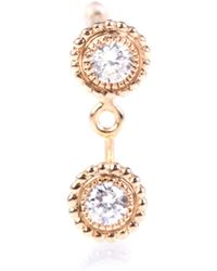 Stone Paris - Swan Double Button 18kt Rose Gold Earring With Diamonds - Lyst