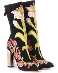 Alexander McQueen - Embroidered Suede Ankle Boots - Lyst