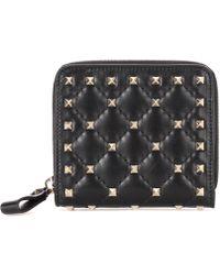 Valentino - Rockstud Spike Leather Wallet - Lyst