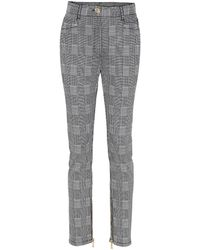 Balmain - Checked High Waisted Cotton-blend Trousers - Lyst