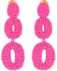 Oscar de la Renta - Beaded Clip-on Earrings - Lyst