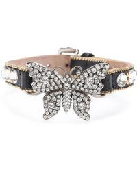 Gucci - Bracelet en cuir et cristaux - Lyst