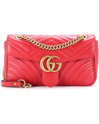 Gucci - Gg Marmont Matelassé Leather Shoulder Bag - Lyst