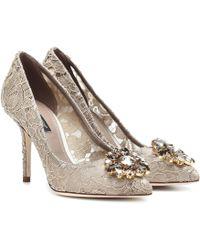 Dolce & Gabbana - Belluci Embellished Lace Pumps - Lyst