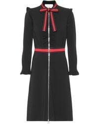 edde1d4f4bb Gucci Black Silk Dress with Leather Trim in Black - Lyst