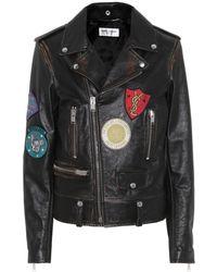 c78daddc899 Saint Laurent - Leather Biker Jacket With Appliqués - Lyst