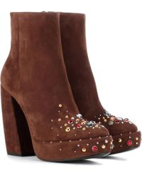 Prada - Suede Plateau Ankle Boots - Lyst