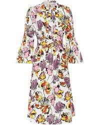 Etro - Printed Cotton Midi Dress - Lyst