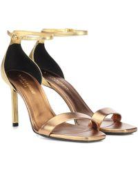 3aaff59b2282 Lyst - Saint Laurent Embellished Leather Sandals in Black