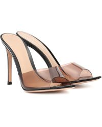 Gianvito Rossi Plexi 105 Leather Mules - Brown