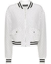 Dolce & Gabbana - Polka-dotted Silk Bomber Jacket - Lyst