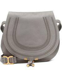 Chloé - Marcie Medium Leather Crossbody Bag Grey - Lyst