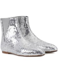 Loewe - Sequined Ankle Boots - Lyst
