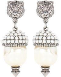 Gucci - Feline Earrings With Faux Pearls - Lyst