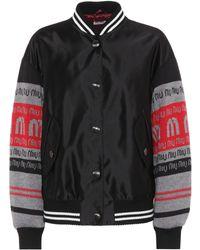 Miu Miu - Satin And Wool Varsity Jacket - Lyst