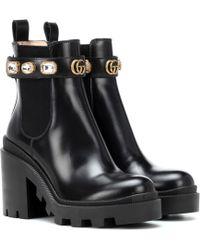 Gucci - Verzierte Ankle Boots aus Leder - Lyst