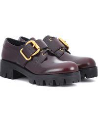 Prada - Polished Leather Derby Shoes - Lyst