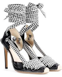 Altuzarra - Leather And Gingham Lace-up D'orsay Court Shoes - Lyst