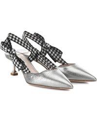 Miu Miu - Metallic Leather Slingback Court Shoes - Lyst