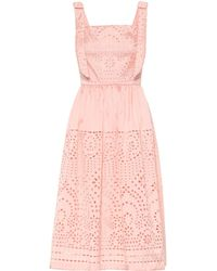 Monique Lhuillier - Broderie Anglaise Satin Midi Dress - Lyst