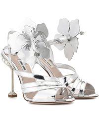 Miu Miu - Embellished Leather Sandals - Lyst