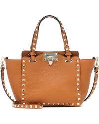 Valentino Rockstud Mini Leather Tote - Brown
