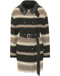Isabel Marant - Hilda Striped Wool-blend Coat - Lyst