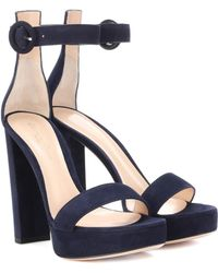Gianvito Rossi - Exclusive To Mytheresa.com – Portofino 130 Suede Plateau Sandals - Lyst