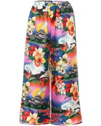 Gucci - Hawaiian Silk Wide-leg Trousers - Lyst