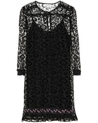 COACH - Flocked Velvet Floral Dress - Lyst