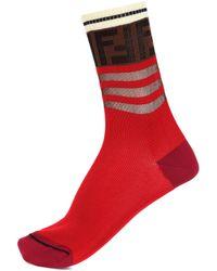 Fendi - Logo Cotton-blend Socks - Lyst