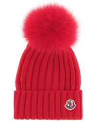 7765a2be058 Moncler Grey Wool Beanie Hat With Pom Pom in Gray - Lyst