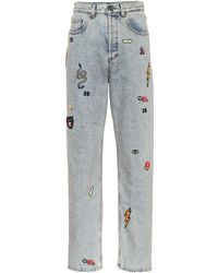 Gucci - Embroidered High Rise Jeans - Lyst