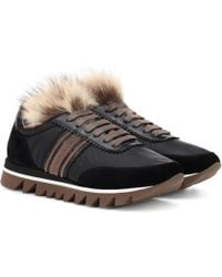 Brunello Cucinelli - Fur-trimmed Leather Trainers - Lyst