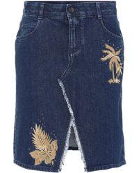 Stella McCartney - Embroidered Denim Skirt - Lyst