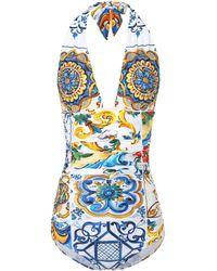 Dolce & Gabbana - Majolica Printed Swimsuit - Lyst