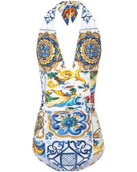 Dolce & Gabbana - Majolica Printed Swimsuit - Lyst