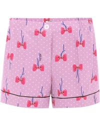 Miu Miu - Printed Silk Shorts - Lyst