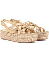 Prada - Leather Platform Sandals - Lyst