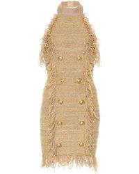 Balmain - Silk-blend Tweed Minidress - Lyst