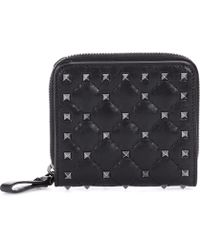Valentino - Garavani Rockstud Leather Wallet - Lyst