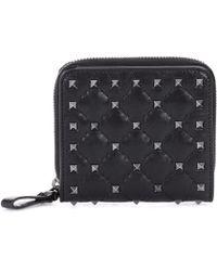 Valentino - Rockstud Leather Wallet - Lyst