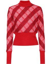 Miu Miu - High-neck Checked Mohair-blend Sweater - Lyst